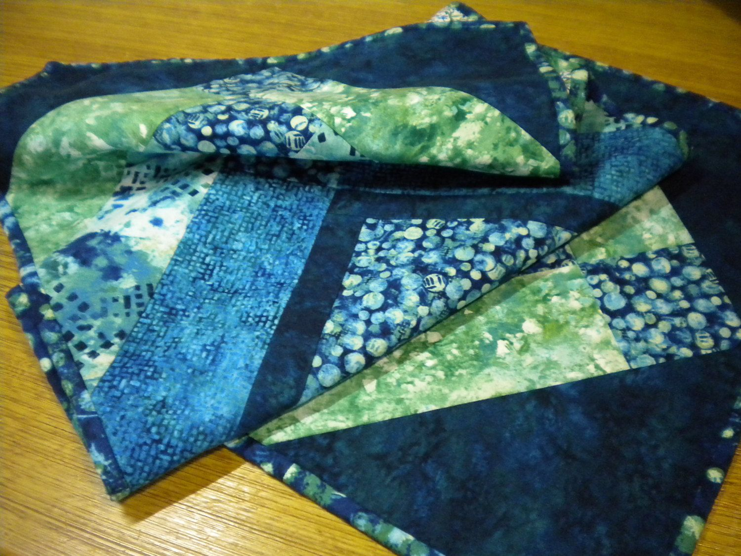 Blue and Green Quilted Table Runner, beach cottage table decor, sea glass quilted topper, green beach glass decor, quilted table mat blue by SewEverAfter on Etsy
