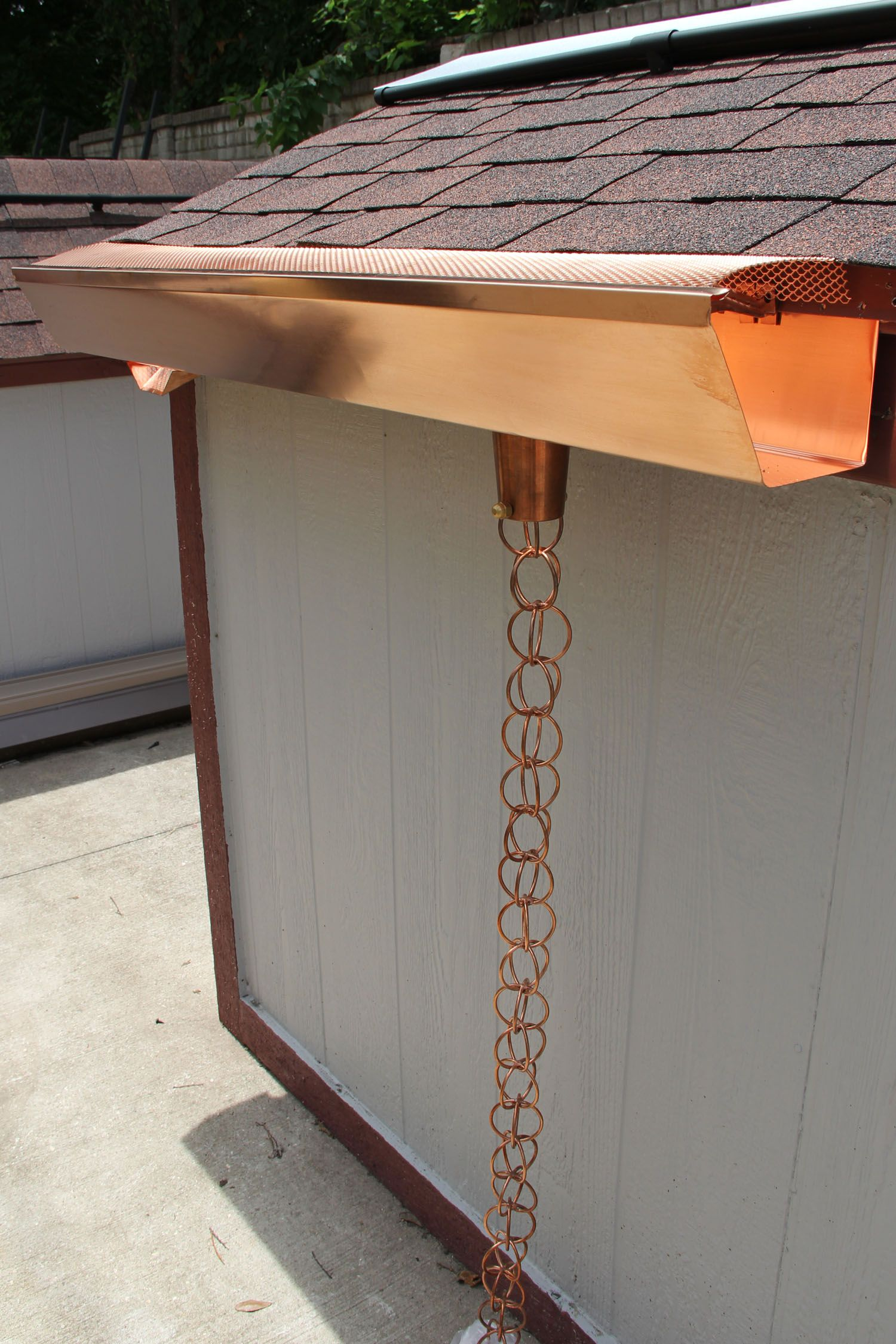 Copper Gutter System Including Leaf Screen Hangers Outlets Rain Chain And Scupper Copper Gutters Stormwater Construction Materials