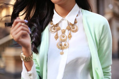 Mint cardigan with a bib necklace