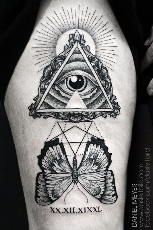 Wonderful Symbol Of Masons With Butterfly Tattoo On Hip By Daniel
