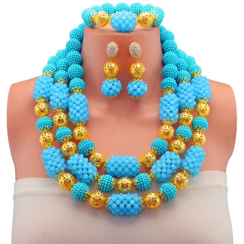 2017 Free Shipping Nigerian Beads Wedding Jewelry Set Bridal Dubai ...