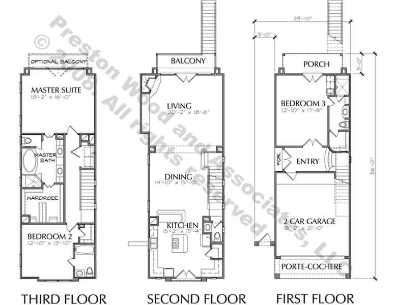 Three Story Townhouse Plan D3025 Floor Plans Row House Craftsman Floor Plans