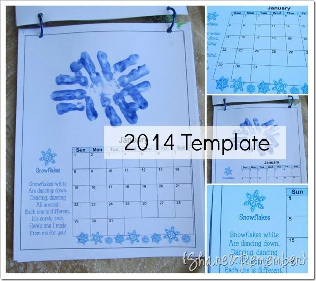 2014 Handprint Calendar Calendar Printable Child And Youngest Child