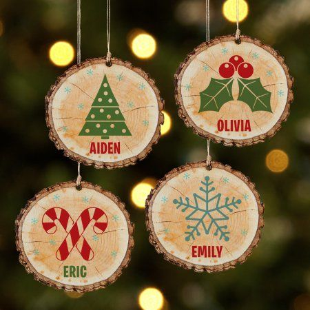 Personalized Rustic Charm Wooden Christmas Ornament Available In 4 Designs Walmart Com In 2020 Wood Christmas Ornaments Wooden Christmas Ornaments Christmas Ornaments