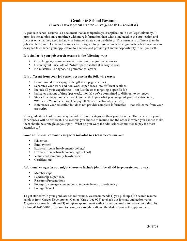 Resume For Graduate School Graduate School Resume Examples Grad