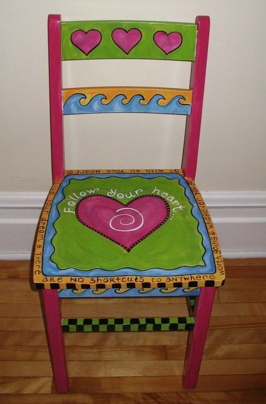 follow your heart painted chair adult size evie pinterest st hle bemalte st hle und m bel. Black Bedroom Furniture Sets. Home Design Ideas