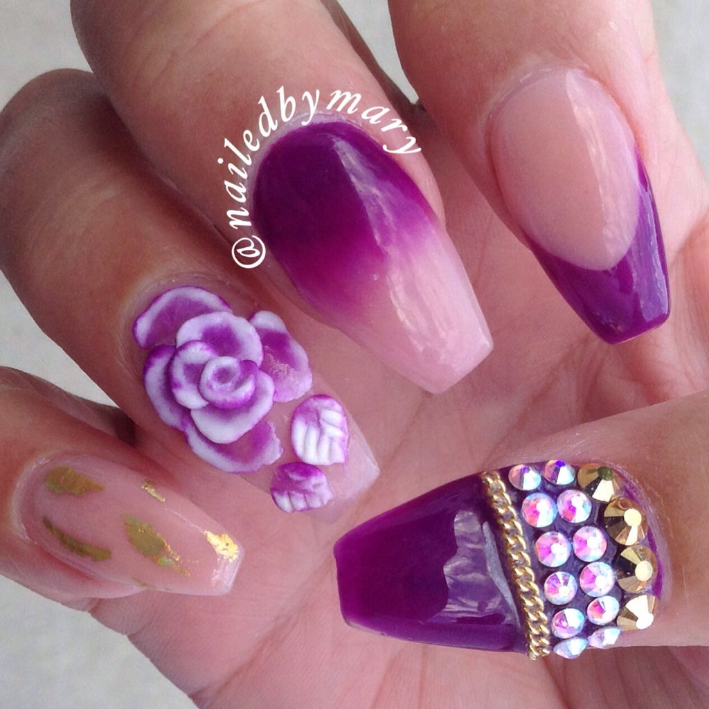 Purple gold nude 3d nail art rose Swarovski crystals chain coffin ...