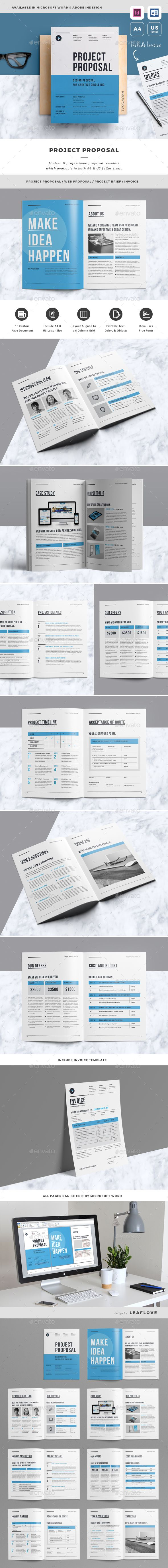 Proposal Template InDesign INDD - 16 Pages, A4 & US Letter Size ...