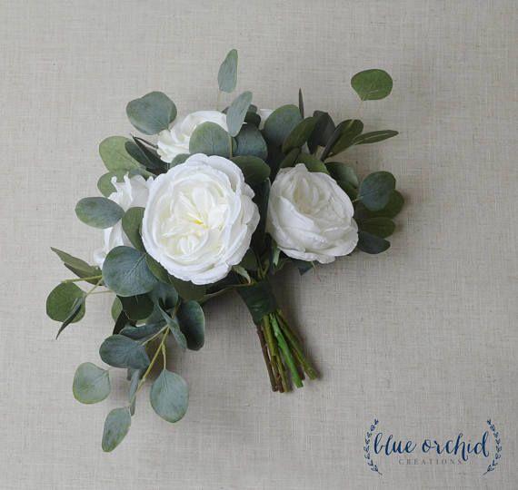 Wedding bouquet, eucalyptus bouquet, peony bouquet, cabbage rose bouquet, silk bouquet, bridal bouquet, wedding flowers, white, green #silkbridalbouquet