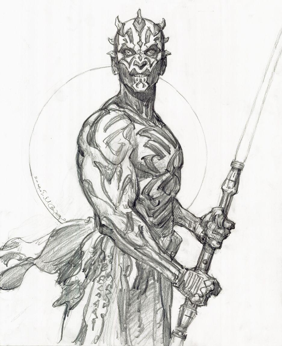 star wars darth maul drawing iain mccaig comic art star wars