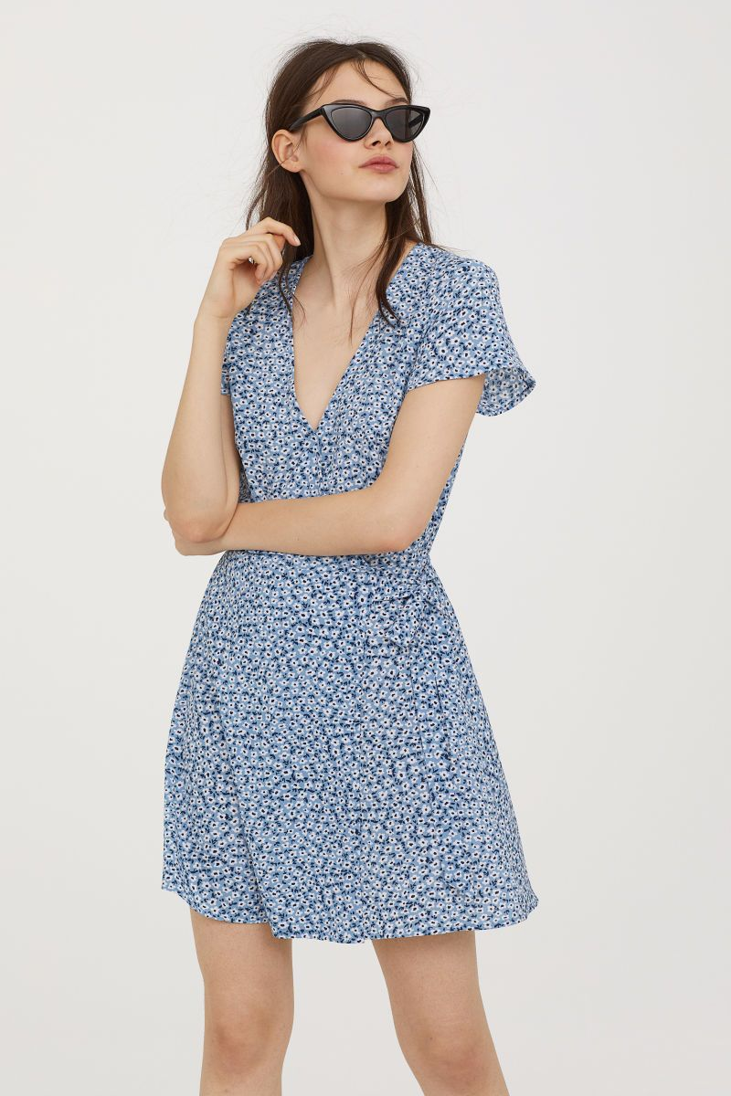 Light bluewhite floral short dress in woven fabric with a printed