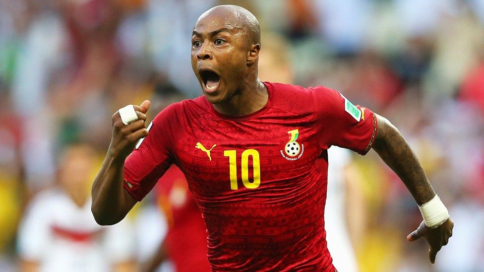 Andre Ayew of Ghana celebrates scoring his team's first