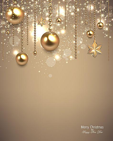 Romantic Christmas Balls Golden Poster Background Material