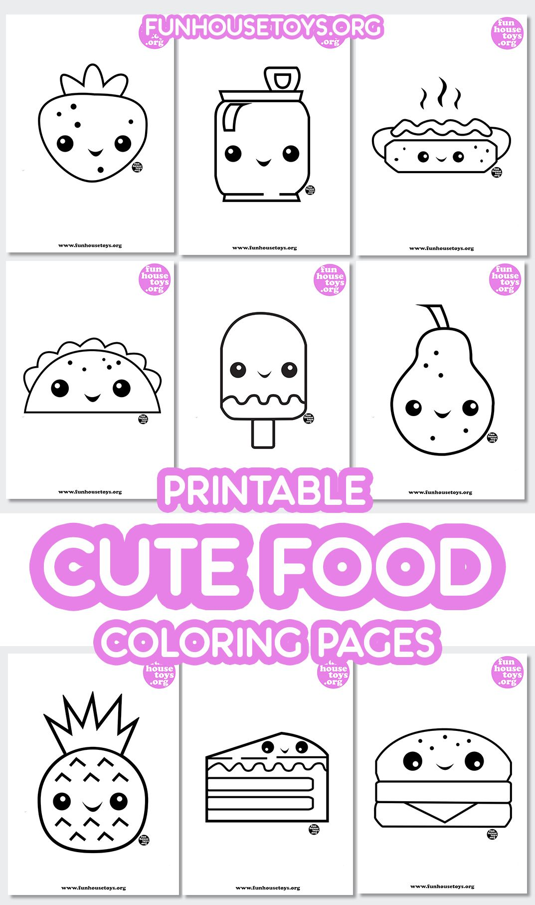 Printable Cute Food Coloring Pages For Kids With Drawing Guide Step By Step Fun Printables For Kids Coloring Pages Food Coloring Pages