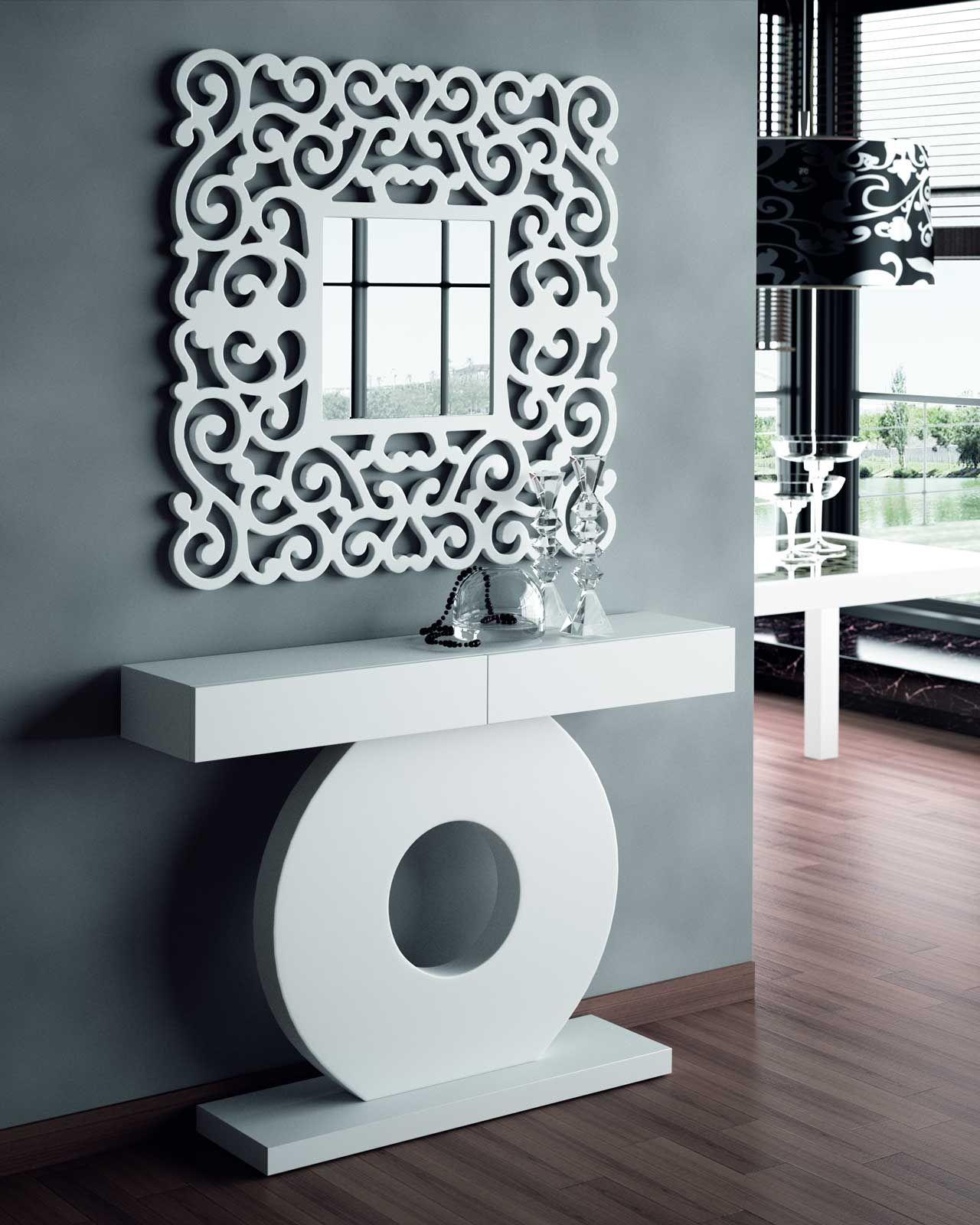 Vitrina mesa centro mesa auxiliar consola entrada for Espejos madera para decorar