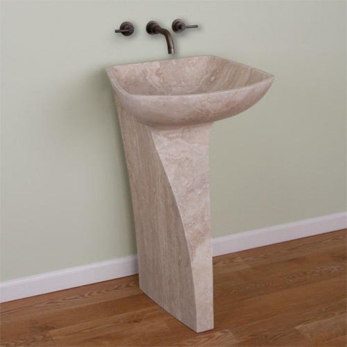 Alba Beige Travertine Pedestal Sink
