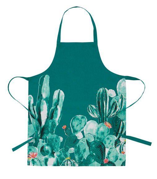 Schicke Schürze in Grün mit Kaktus - sorgt für gute Laune beim Kochen