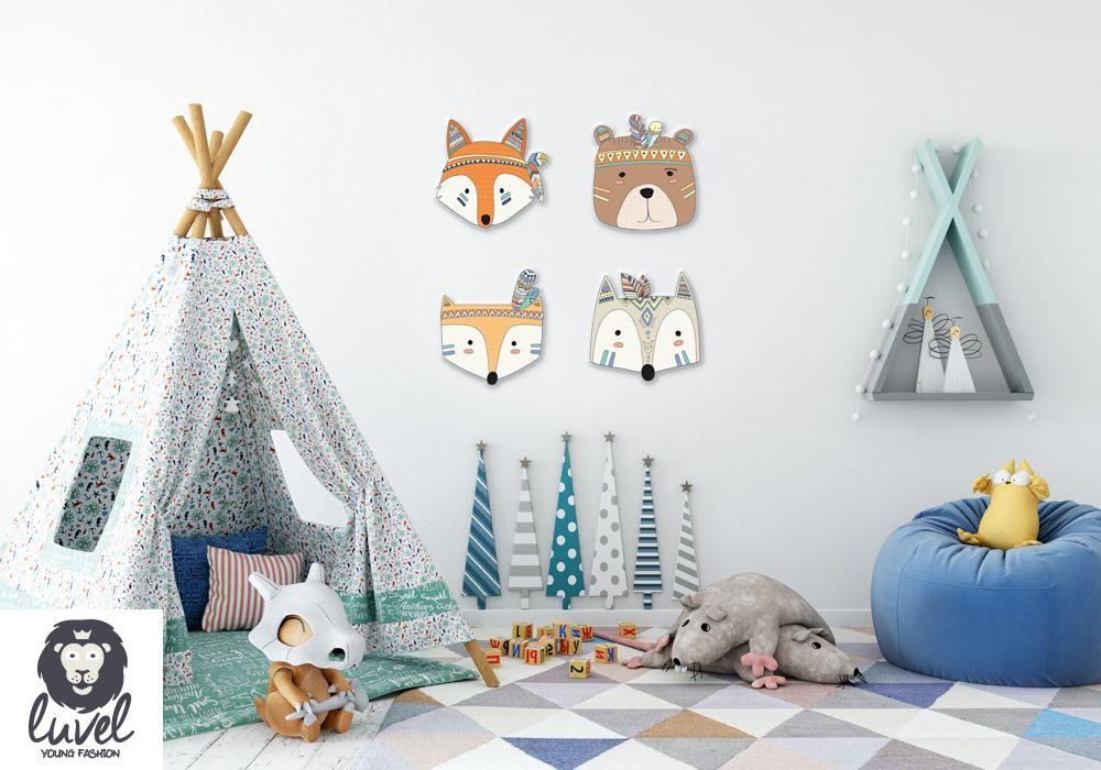colorful indianer animals 3d wanddeko f r das kinderzimmer kinderzimmergestaltung. Black Bedroom Furniture Sets. Home Design Ideas