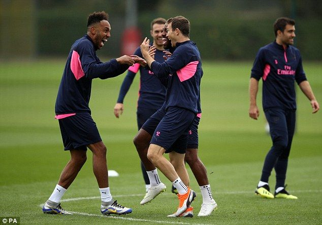 Pierre-Emerick Aubameyang was seen laughing with team-mates during a game of rondo