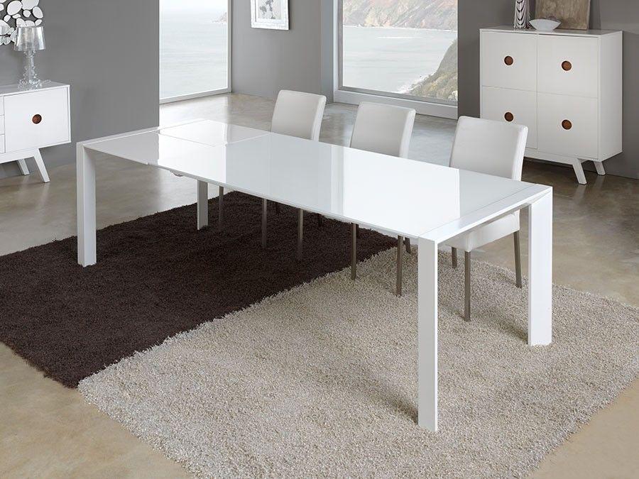 Table De Salle à Manger Rectangulaire Design Laquée Blanche - Table carree blanche avec rallonge pour idees de deco de cuisine