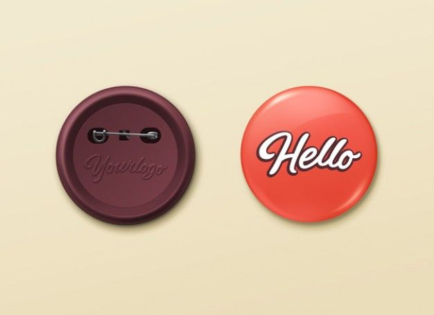 Pin Buttons mockup PSD template | Illustrations | Pinterest