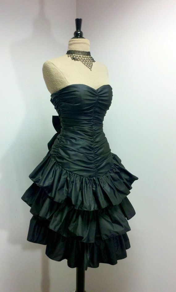 Vintage 1980s Prom Dress / 80s Black Party Dress / Black Cocktail ...