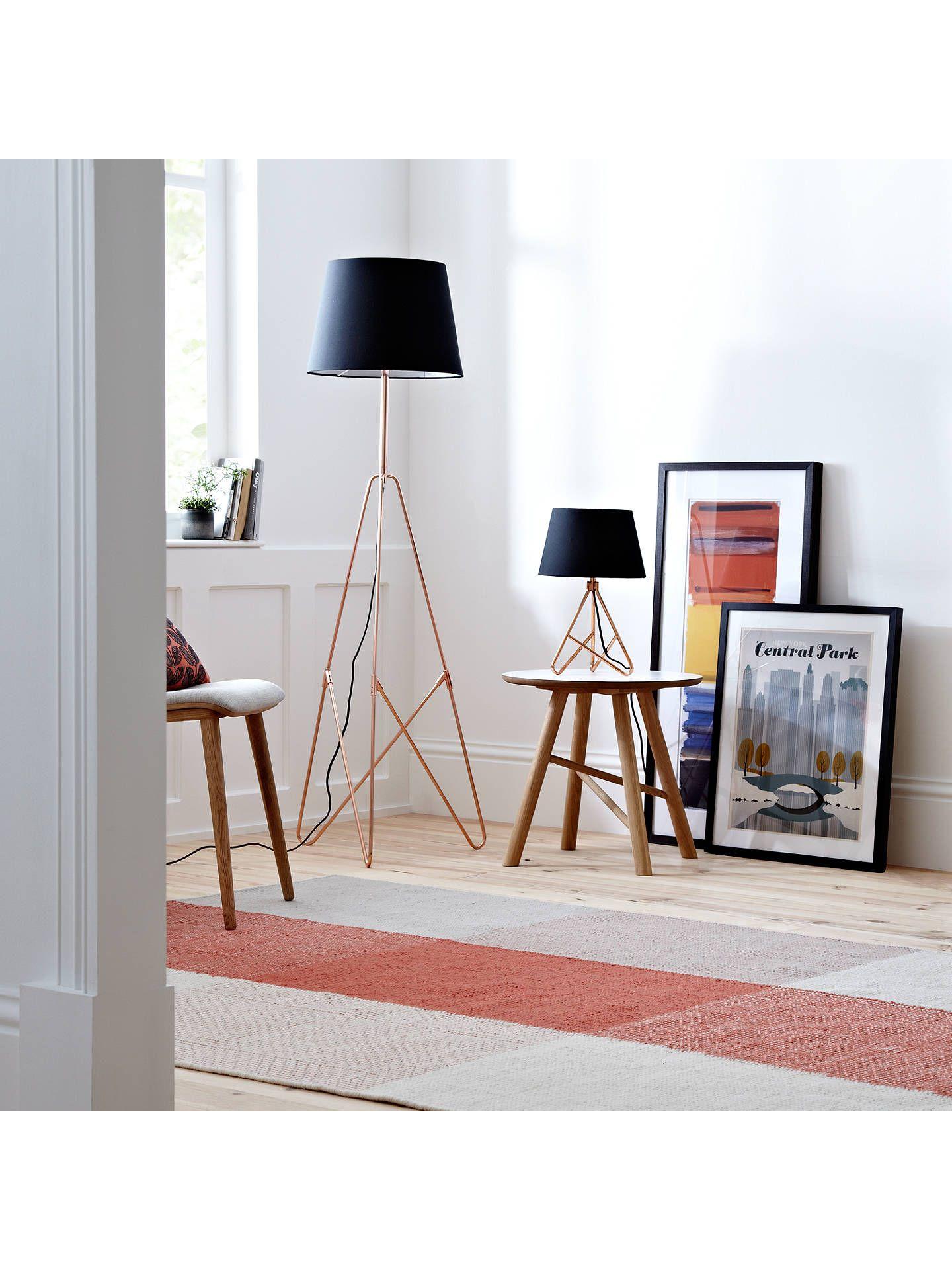 John Lewis & Partners Albus Twisted Table Lamp, Black / Copper | Table Lamps Living Room, Copper Lamps, Black Floor Lamp