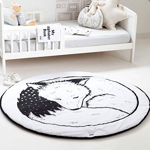 Hiltow Round Rugs Baby Rug Nursery Cute Fox Design Home Decoration Area Bedroom Living Room Carpet Mat Crawling Mats Kids Play Machine