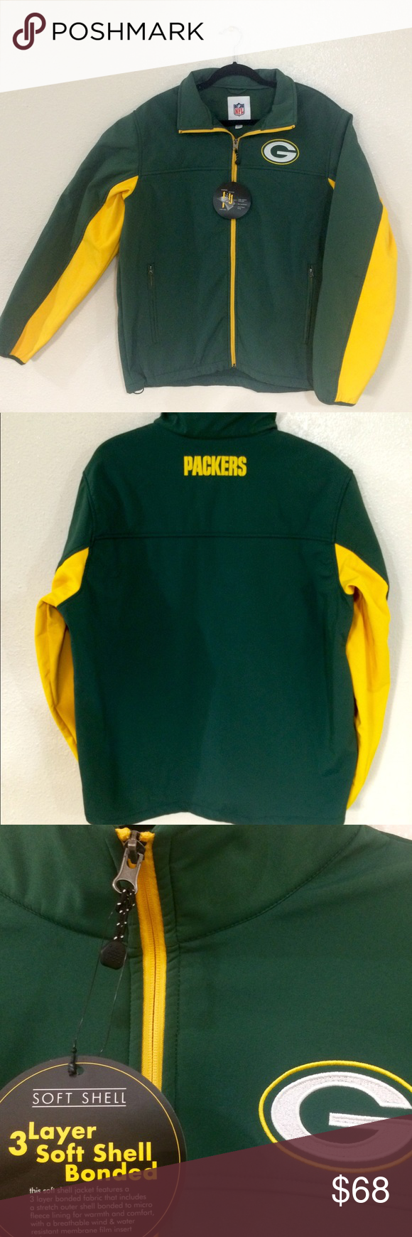 Green Bay Packers Soft Shell Jacket Inner Pocket NWT