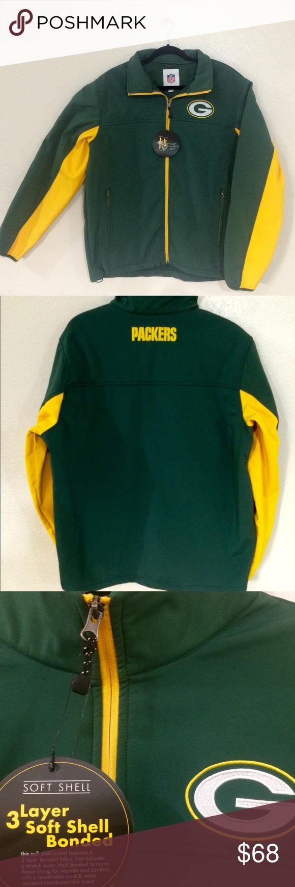 Green Bay Packers Soft Shell Jacket Inner Pocket NWT