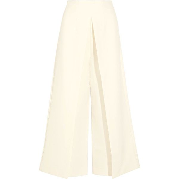 Solace London Johnson pleated crepe wide-leg pants (£305) ❤ liked on