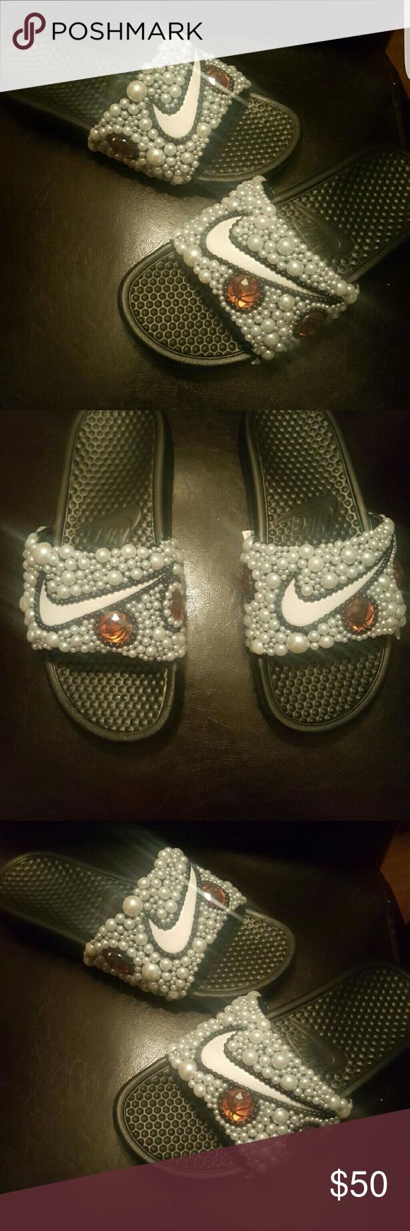 9b6f2ec8d6fb9f Blinged out Nike Slides Basketball slides Shoes Sandals Bling Sandals