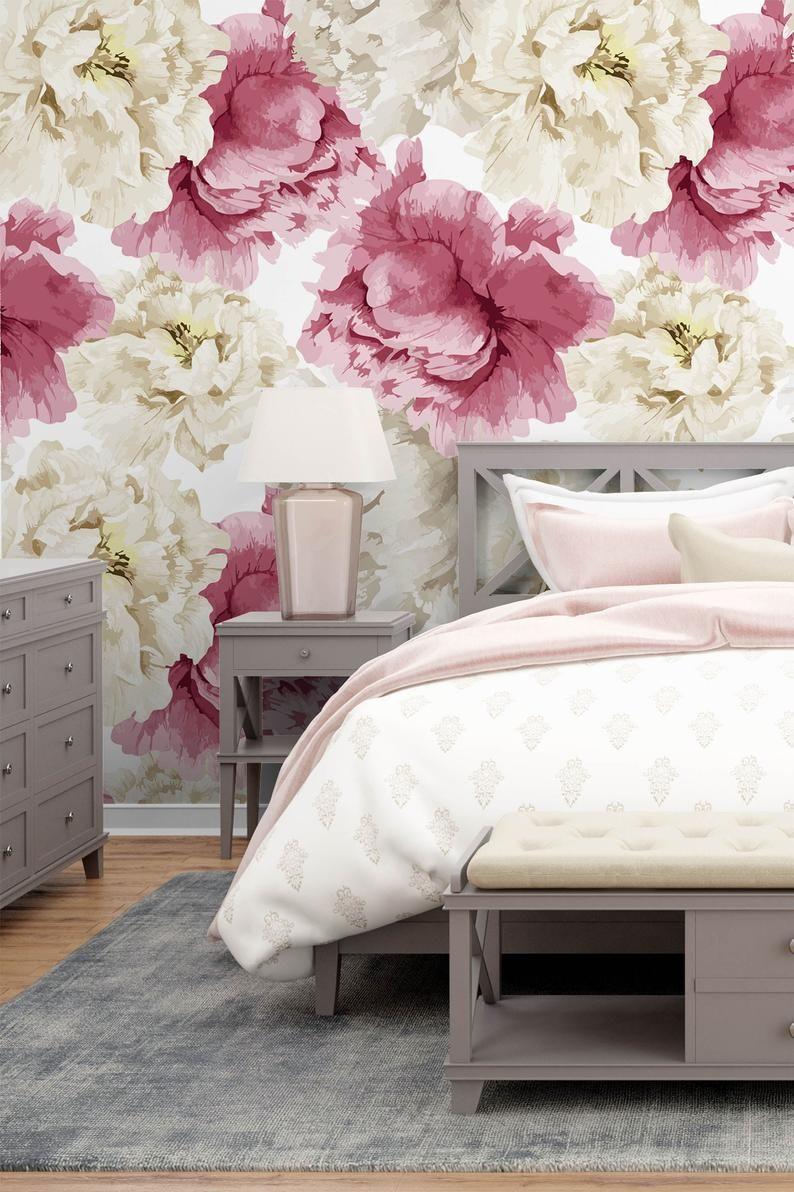 watercolor pastel peony wallpaper,Peel & Stick fabric