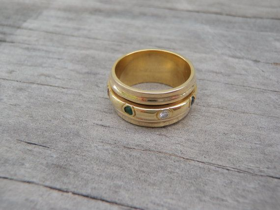 Solid 18K Yellow Gold Diamond Gemstone by SuiGenerisJewels on Etsy
