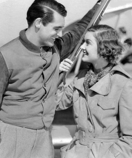 """Cary Grant, Myrna Loy publicity still for """"Wings in the Dark"""""""