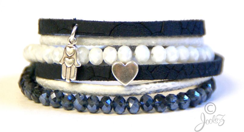 Wikkelarmband Donkerblauw/wit
