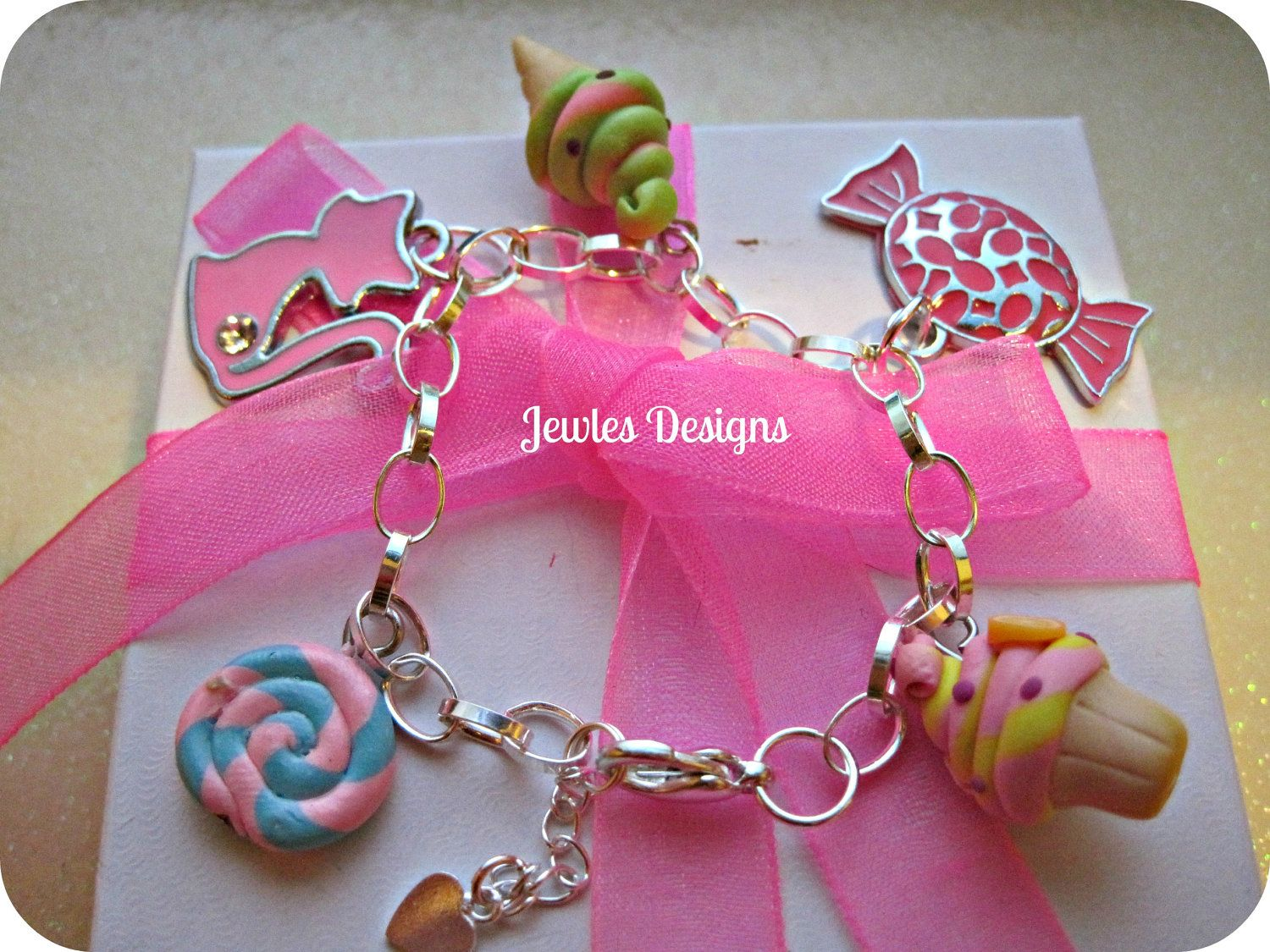 Little Girls Charm Bracelet Sterling Silver Sweet by JewlesDesigns