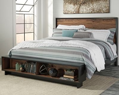 Stavani King Panel Bed With Storage By Ashley Homestore Black