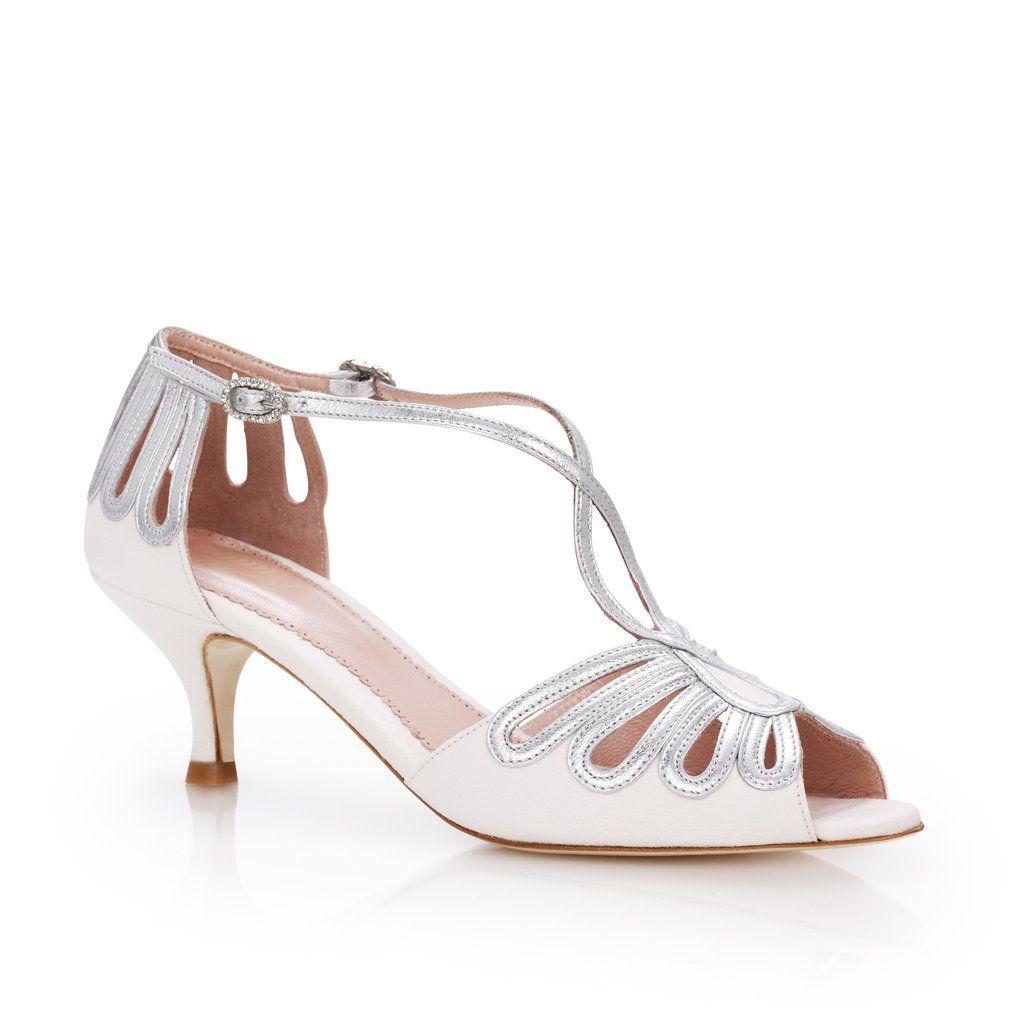 Leila Silver Kitten | Bridal shoe, Kitten heels and Low heel sandals