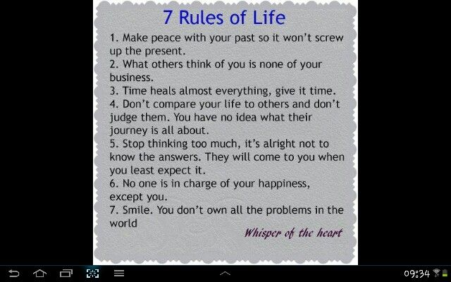 My new Rules of Life