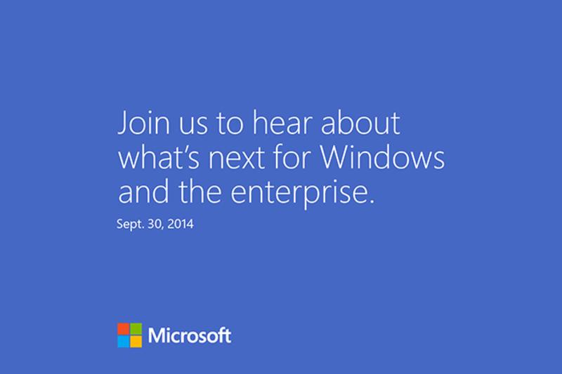 Arrivano gli inviti ufficiali per un evento organizzato da Microsoft il 30 Settembre a San Francisco. Molto probabile la presentazione di Windows 9