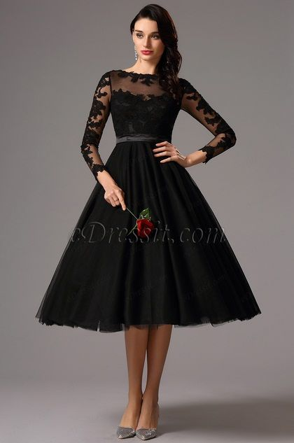Long Lace Sleeves Tea Length Black Cocktail Dress 04161300 Style