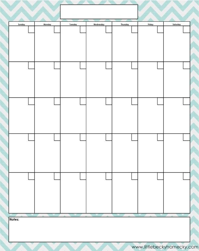 Blank Monthly Calendar  Printables    Blank Monthly