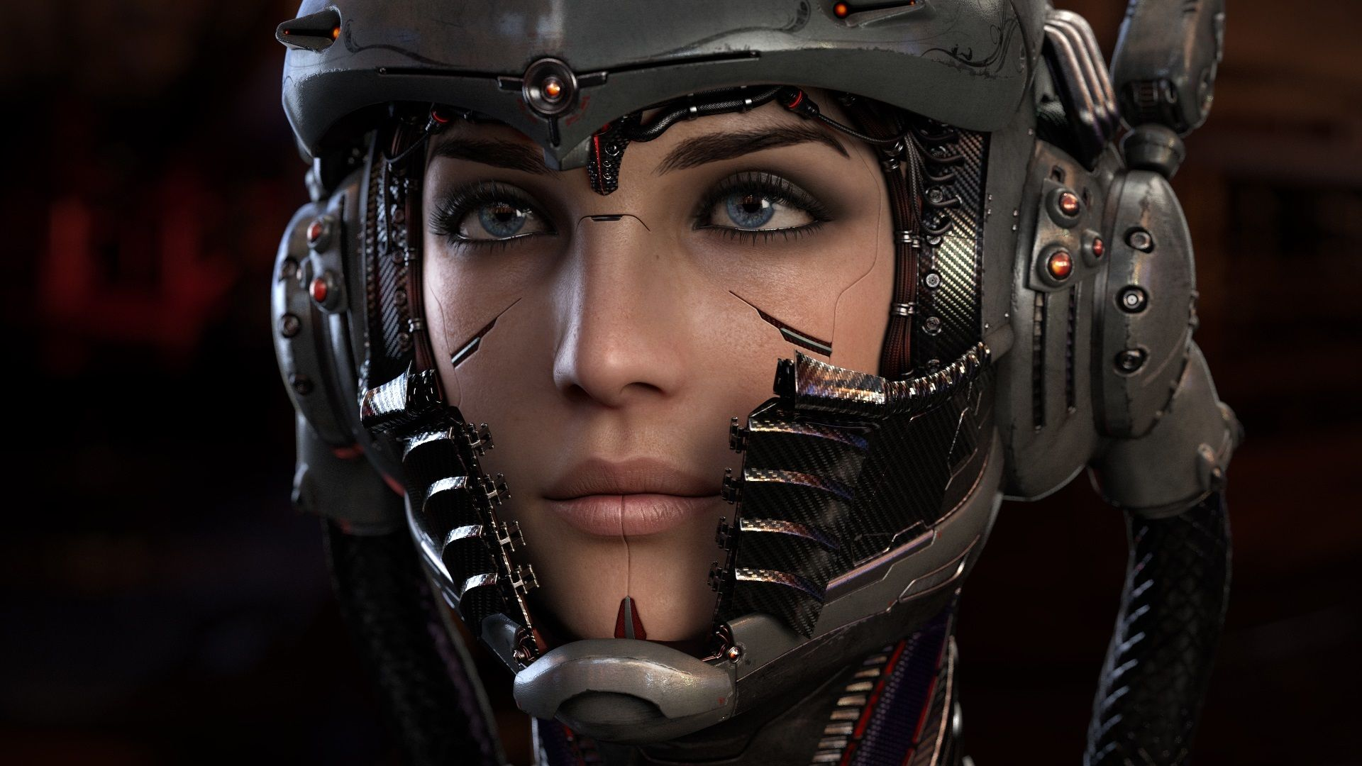 Girl With Blaster In The Futuristic Battle. Concept Virtual Reality, Cyber Game. Stock Image