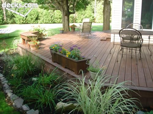 Low Elevation Deck Picture Gallery Deck Landscaping Landscaping Around Deck Deck Designs Backyard
