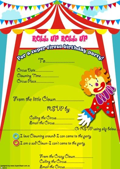 Free Clown and circus Birthday party invitations for you to print - circus party invitation