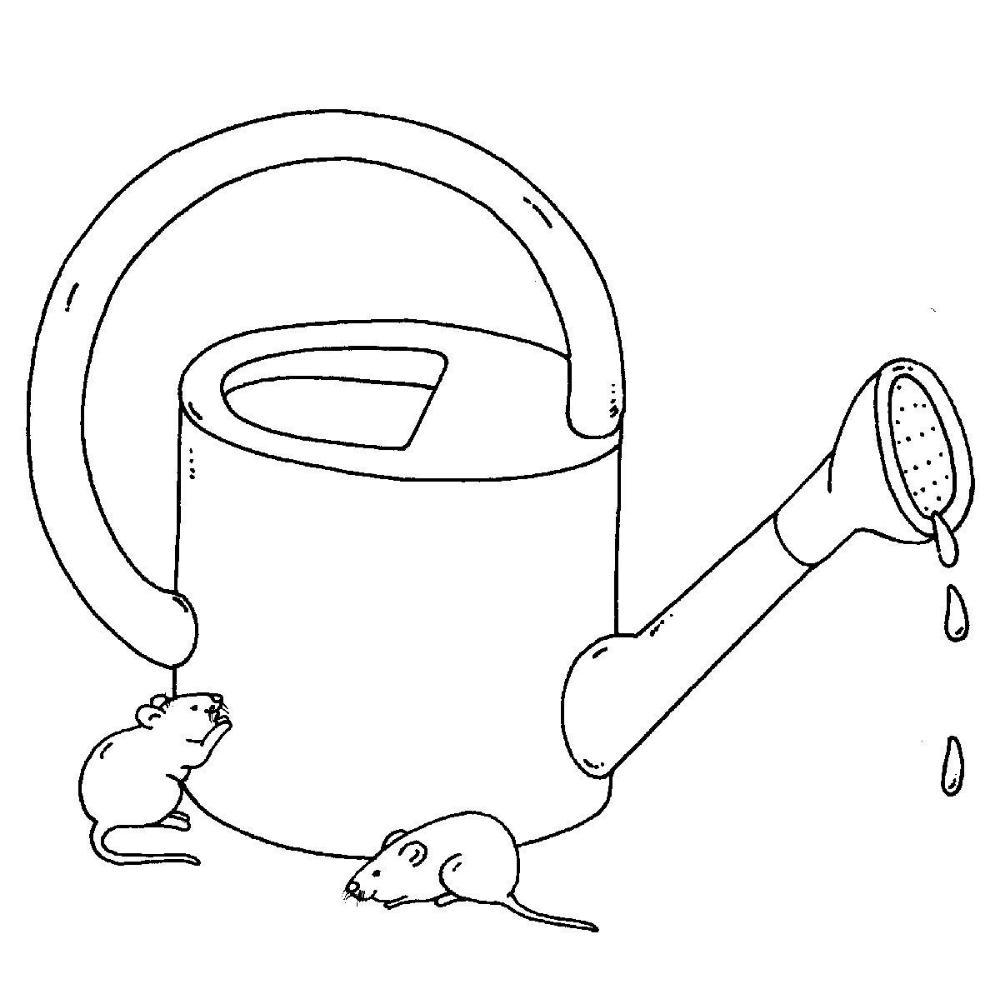 Ausmalbild Bauernhof: Gießkanne und Mäuse kostenlos ausdrucken