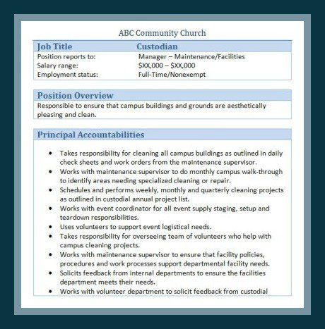 Sample Church Employee Job Descriptions Job description, Churches