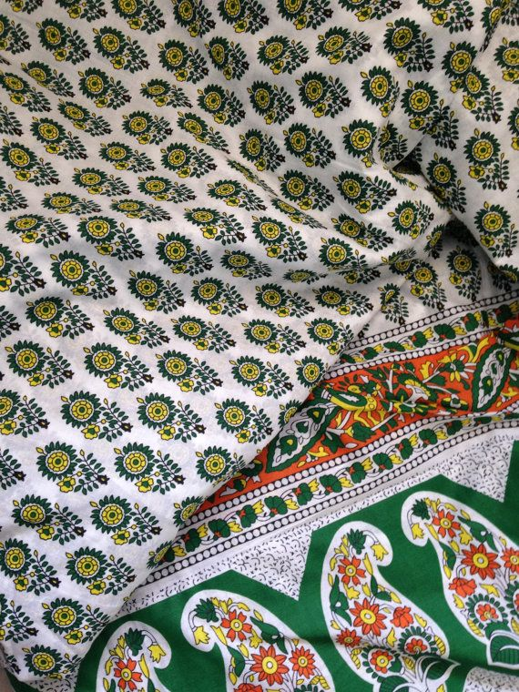 New Indian Paisely Ethnic Beautiful Printed 3Yard Fabric Hand Block 100/% Cotton