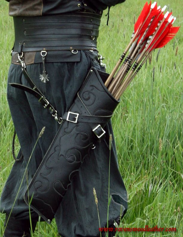 Traditional Recurve Bow Bag Arrow Quiver Leather Holder Waist Hip Longbow Target